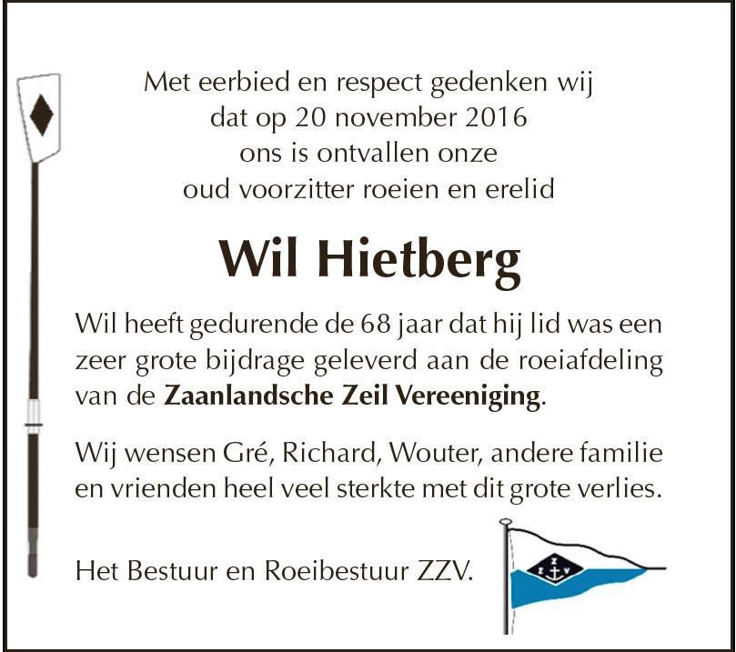 Overlijdensbericht Wil Hietberg